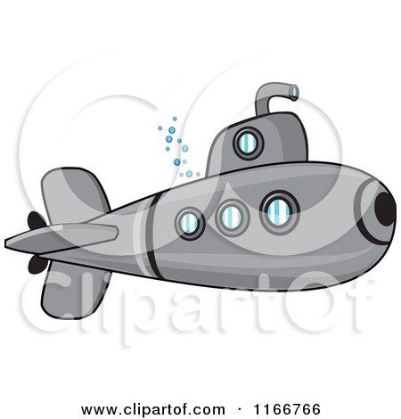 Cartoon of a Metal Submarine - Royalty Free Vector Clipart by djart