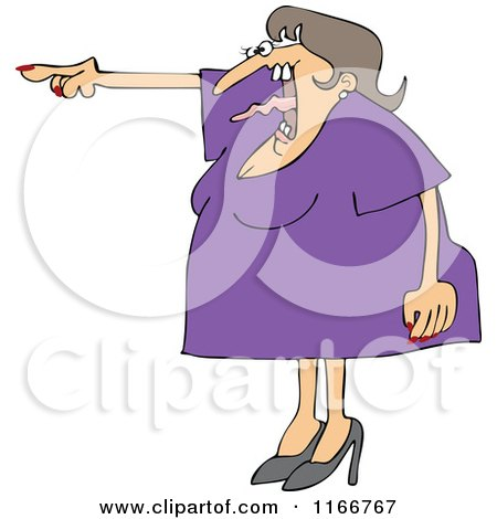 Cartoon of an Angry Woman Screaming and Pointing with Her Tonge Waving - Royalty Free Vector Clipart by djart