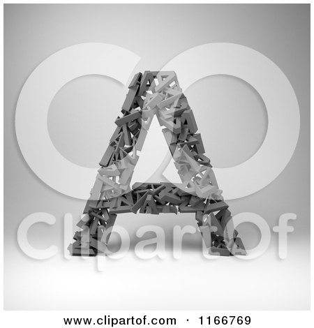 Clipart of a 3d Capital Letter a Composed of Scrambled Letters over Gray - Royalty Free CGI Illustration by stockillustrations