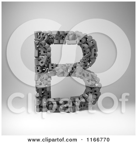 Clipart of a 3d Capital Letter B Composed of Scrambled Letters over Gray - Royalty Free CGI Illustration by stockillustrations