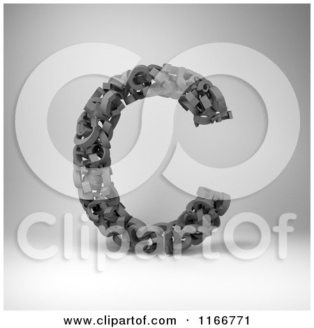 Clipart of a 3d Capital Letter C Composed of Scrambled Letters over Gray - Royalty Free CGI Illustration by stockillustrations
