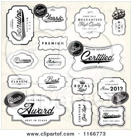 Clipart of Black and White Quality Labels over a Beige Pattern - Royalty Free Vector Illustration by BestVector