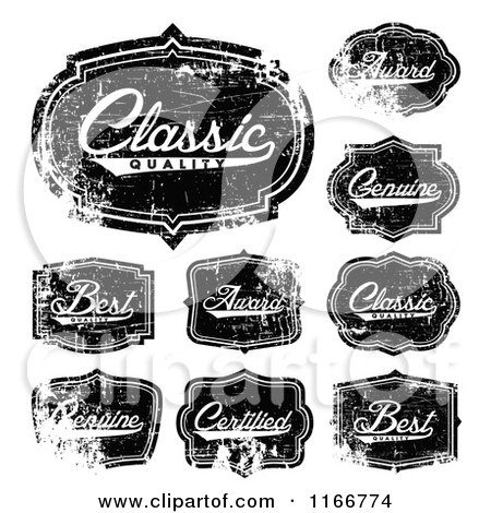 Clipart of Distressed Black and White Quality Labels - Royalty Free Vector Illustration by BestVector