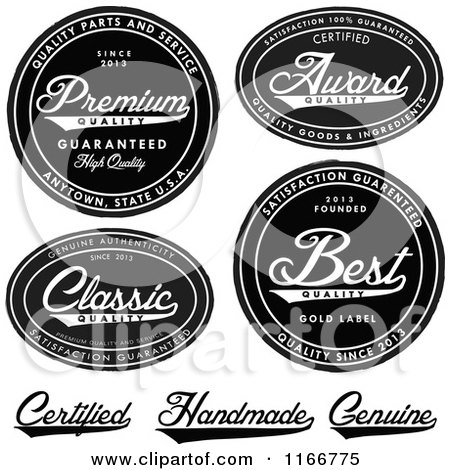 Clipart of Black and White Quality and Handmade Labels - Royalty Free Vector Illustration by BestVector