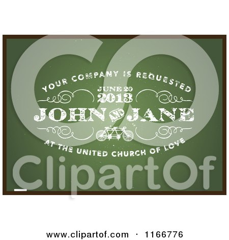 Clipart of a Distressed Green Wedding Chalkboard Invitation with a Black Border and Sample Text - Royalty Free Vector Illustration by BestVector
