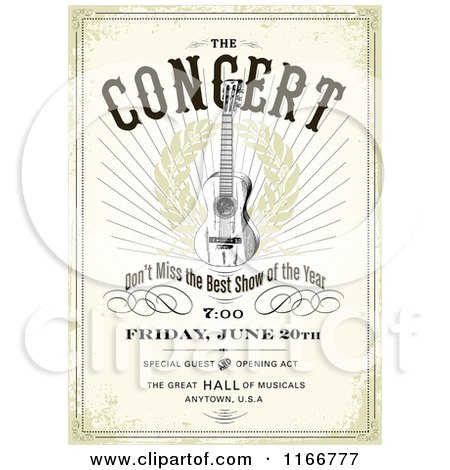Clipart of a Grungy Concert Poster Design with Sample Text - Royalty Free Vector Illustration by BestVector
