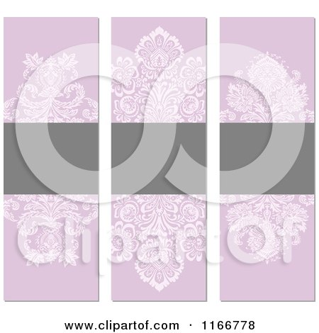 Clipart of Vintage Purple and Gray Floral Invite Banners with Copyspace - Royalty Free Vector Illustration by BestVector