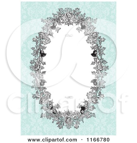 Clipart of a Floral Oval Invite Frame with Siwrls and Copyspace on Antique Blue - Royalty Free Vector Illustration by BestVector
