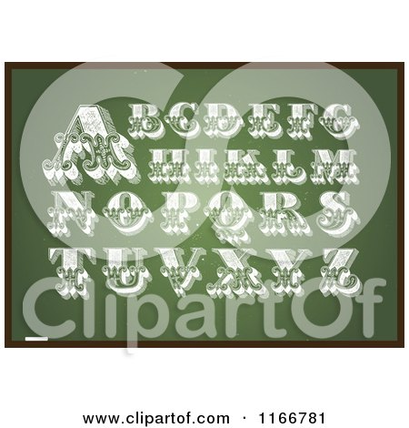 Clipart of Vintage Letters on a Chalkboard - Royalty Free Vector Illustration by BestVector