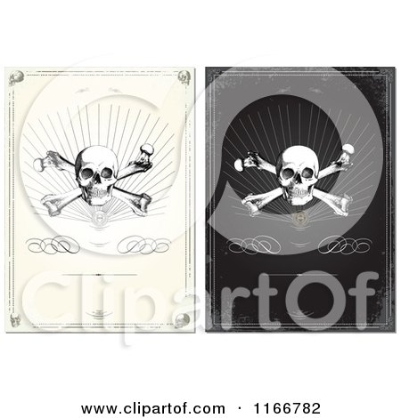 Clipart of Grungy Skull and Crossbone Designs - Royalty Free Vector Illustration by BestVector