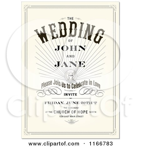 Clipart of a Vintage Wedding Invitation with Sample Text Royalty – Free Invitation Clipart