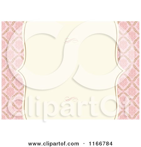 Clipart of a Vintage Pink and Beige Invitation with Copyspace and Swirls - Royalty Free Vector Illustration by BestVector