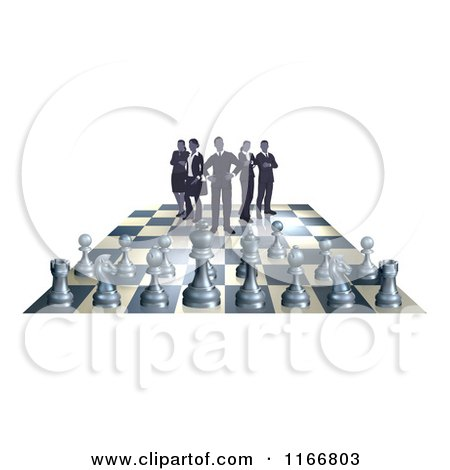 Clipart of a Business Team on a Chess Board, up Against Game Pieces - Royalty Free Vector Illustration by AtStockIllustration