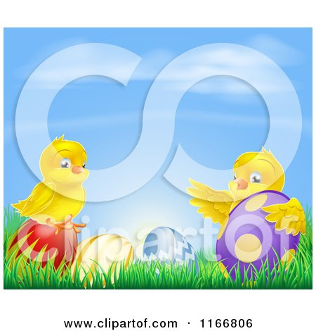 Cartoon of Yellow Easter Chicks Playing in Grass with Eggs Under a Blue Sky - Royalty Free Vector Clipart by AtStockIllustration