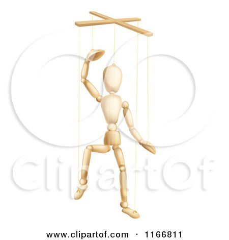 Clipart of a Wooden Puppet Lifting off His Hat - Royalty Free Vector Illustration by AtStockIllustration