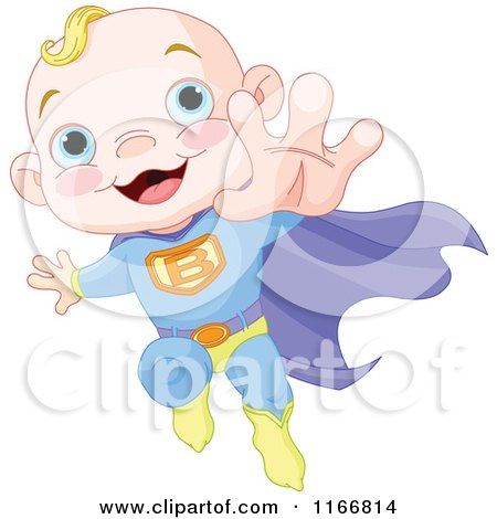 Cartoon of a Super Baby Boy Flying - Royalty Free Vector Clipart by Pushkin