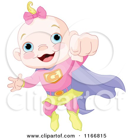 Cartoon of a Super Baby Girl Flying - Royalty Free Vector Clipart by Pushkin