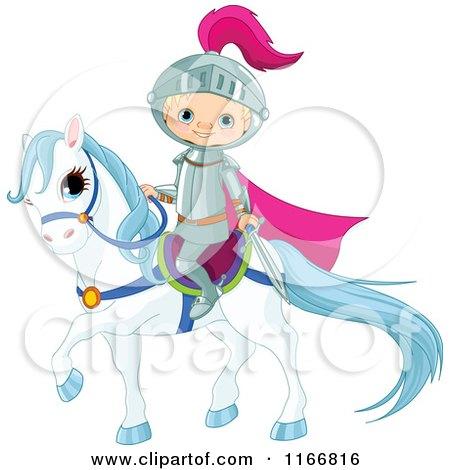 Cartoon of a Fairy Tale Knight Boy on Horseback - Royalty Free Vector Clipart by Pushkin