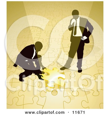 Two Businessmen Completing a Yellow Jigsaw Puzzle Together Posters, Art Prints