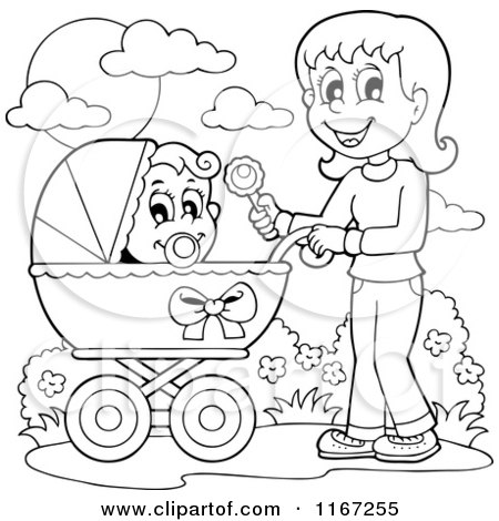Cartoon of an Outlined Mother Waving a Rattle and Pushing a Baby in a Stroller - Royalty Free Vector Clipart by visekart