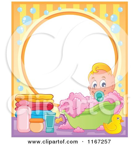 Cartoon of a Baby Boy in a Bubble Bath Frame - Royalty Free Vector Clipart by visekart