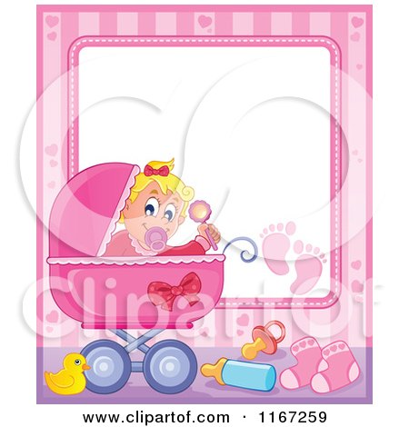 Cartoon of a Baby Girl Waving a Rattle in a Pink Pram Border - Royalty Free Vector Clipart by visekart