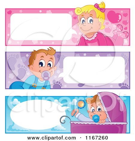 Cartoon of Talking Baby Website Banners - Royalty Free Vector Clipart by visekart