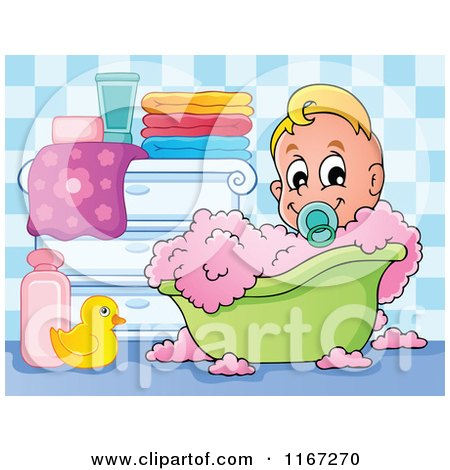 Cartoon of a Baby Boy in a Bubble Bath - Royalty Free Vector Clipart by visekart