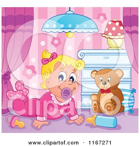 Cartoon of a Happy Baby Girl with a Teddy Bear in a Nursery - Royalty Free Vector Clipart by visekart