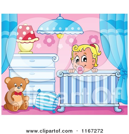 Cartoon of a Happy Baby Girl in a Nursery Crib - Royalty Free Vector Clipart by visekart