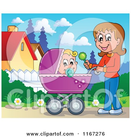 Cartoon of a Mother Waving a Rattle and Pushing a Baby in a Stroller - Royalty Free Vector Clipart by visekart