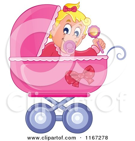 Cartoon of a Baby Girl Waving a Rattle in a Pink Pram - Royalty Free Vector Clipart by visekart