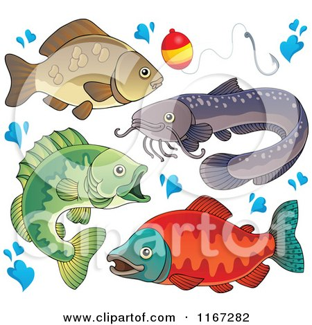 Cartoon of River Fish Waters Splashes and a Fishing Bob - Royalty Free Vector Clipart by visekart
