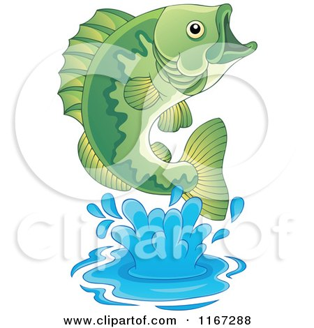 Cartoon of a Leaping Green Bass Fish - Royalty Free Vector Clipart by visekart