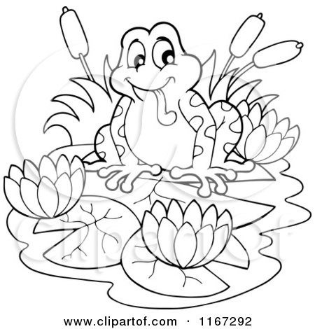 Cartoon of an Outlined Frog with Lotus Flowers and Lilypads| Royalty Free Vector Clipart by visekart