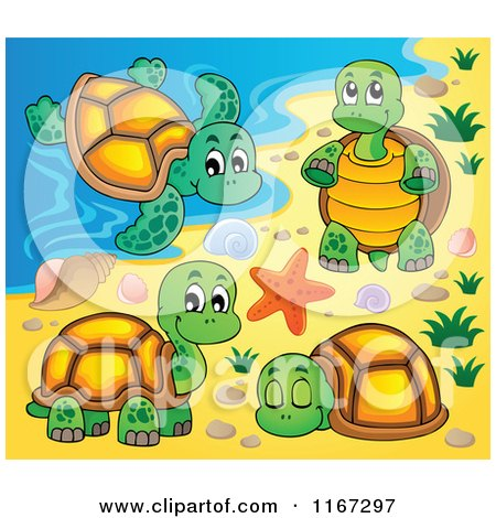 Cartoon of a Sea Turtle and Tortoises on a Beach - Royalty ...