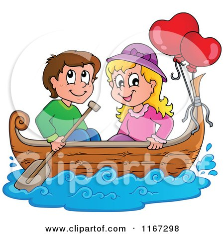 Cartoon of a Happy Couple with Valentine Balloons in a Boat - Royalty Free Vector Clipart by visekart