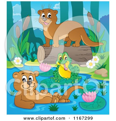 Cartoon of a Frog and Two Otters on a River - Royalty Free Vector Clipart by visekart