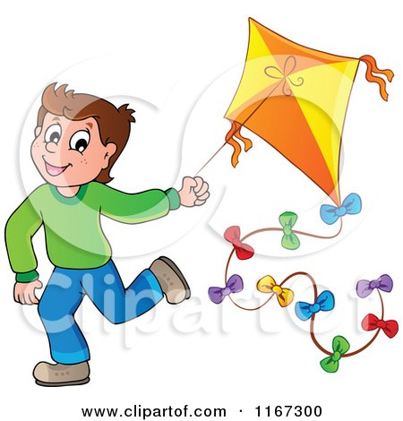 Cartoon of a Happy Boy Running with a Kite - Royalty Free Vector Clipart by visekart