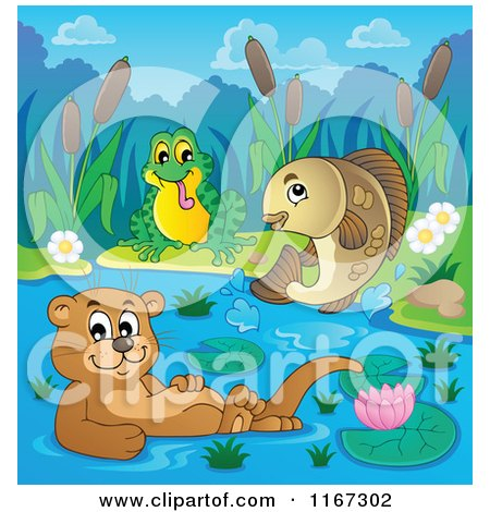 Cartoon of a Leaping Fish Floating Otter and Frog on a River - Royalty Free Vector Clipart by visekart