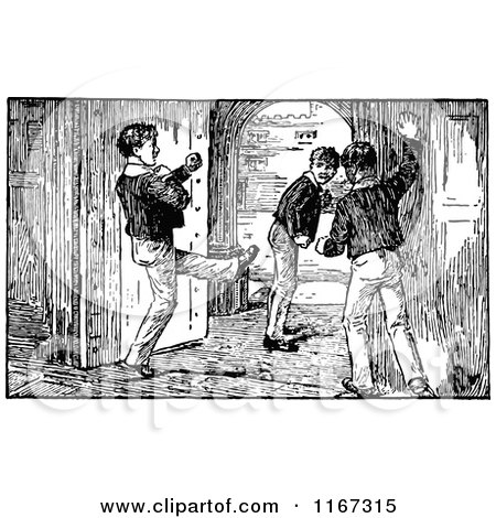Clipart of Retro Vintage Black and White School Boys by a Door - Royalty Free Vector Illustration by Prawny Vintage