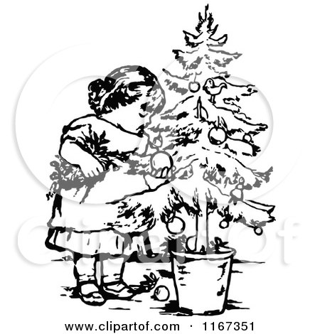 Retro Vintage Black And White Girl With A Potted Christmas Tree