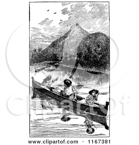 Clipart of Retro Vintage Black and White Men in a Canoe - Royalty Free Vector Illustration by Prawny Vintage