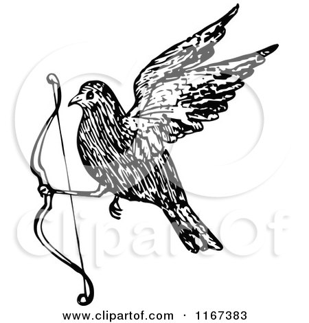 Clipart of a Retro Vintage Black and White Bird Flying with a Bow - Royalty Free Vector Illustration by Prawny Vintage