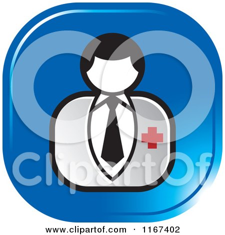 Clipart of a Blue Medical Doctor Icon - Royalty Free Vector Illustration by Lal Perera