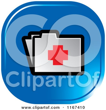 Clipart of a Blue Medical First Aid Folder Icon - Royalty Free Vector Illustration by Lal Perera