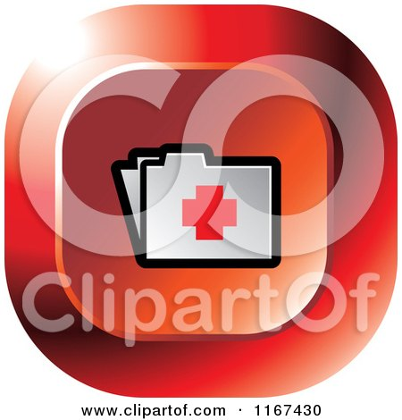 Clipart of a Red Medical First Aid Folder Icon - Royalty Free Vector Illustration by Lal Perera
