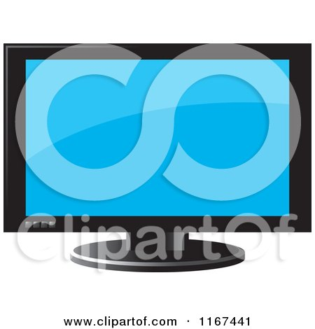 Clipart of a Television with a Black Frame - Royalty Free Vector Illustration by Lal Perera