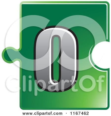 Clipart of a Green Jigsaw Puzzle Piece Letter O - Royalty Free Vector Illustration by Lal Perera