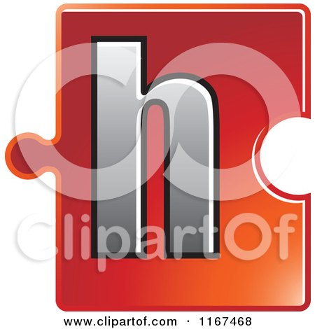 Clipart of a Red Jigsaw Puzzle Piece Letter H - Royalty Free Vector Illustration by Lal Perera